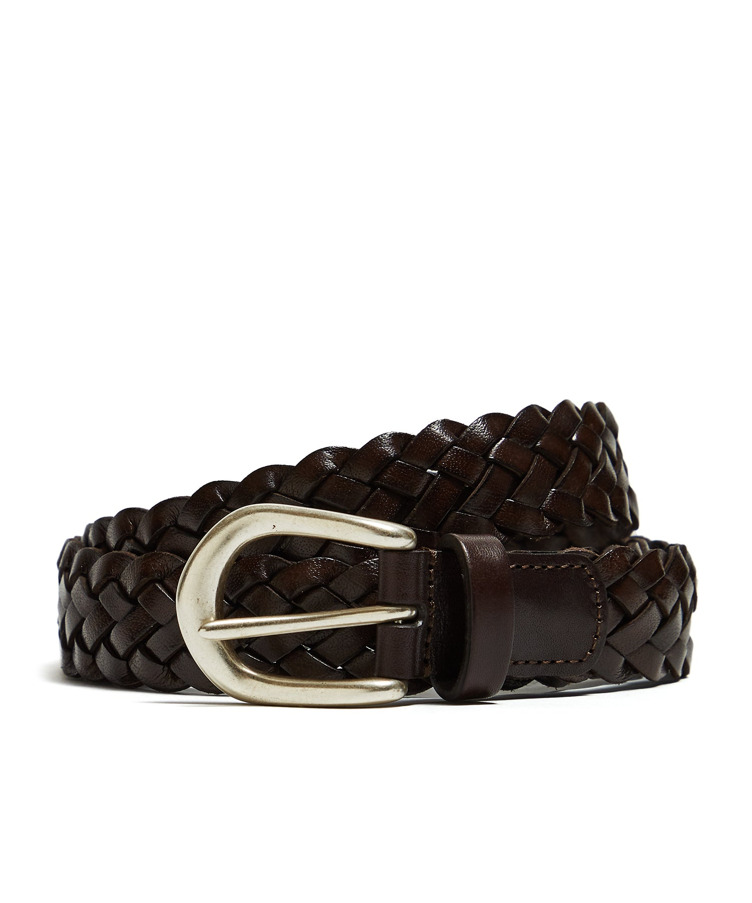 Anderson's Woven Leather Belt in Brown