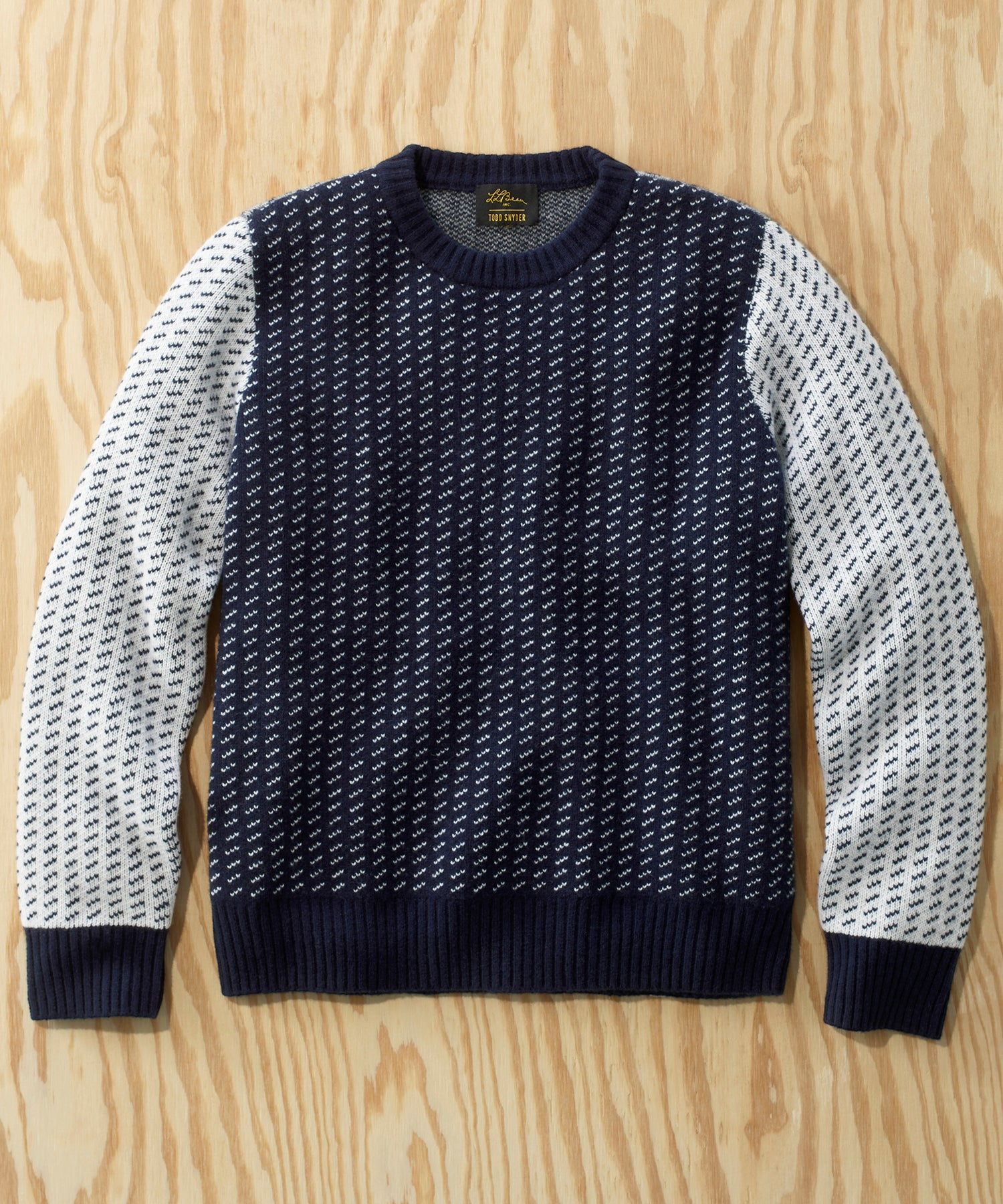 L.L.Bean x Todd Snyder Pullover Sweater in Colorblock Navy