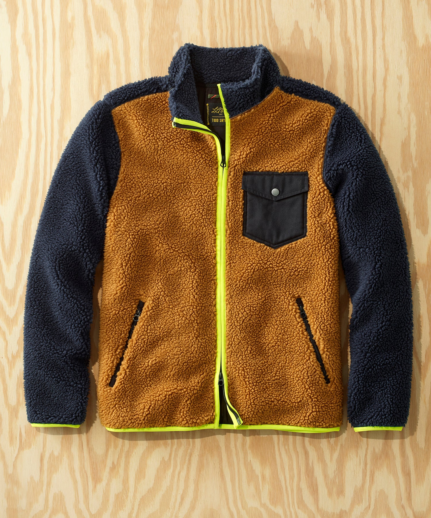 L.L.Bean x Todd Snyder Hi-Pile Sherpa Zip-Front Jacket in Colorblock Navy