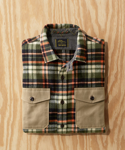 L.L.Bean x Todd Snyder Chamois Shirt with Trim in Green Check