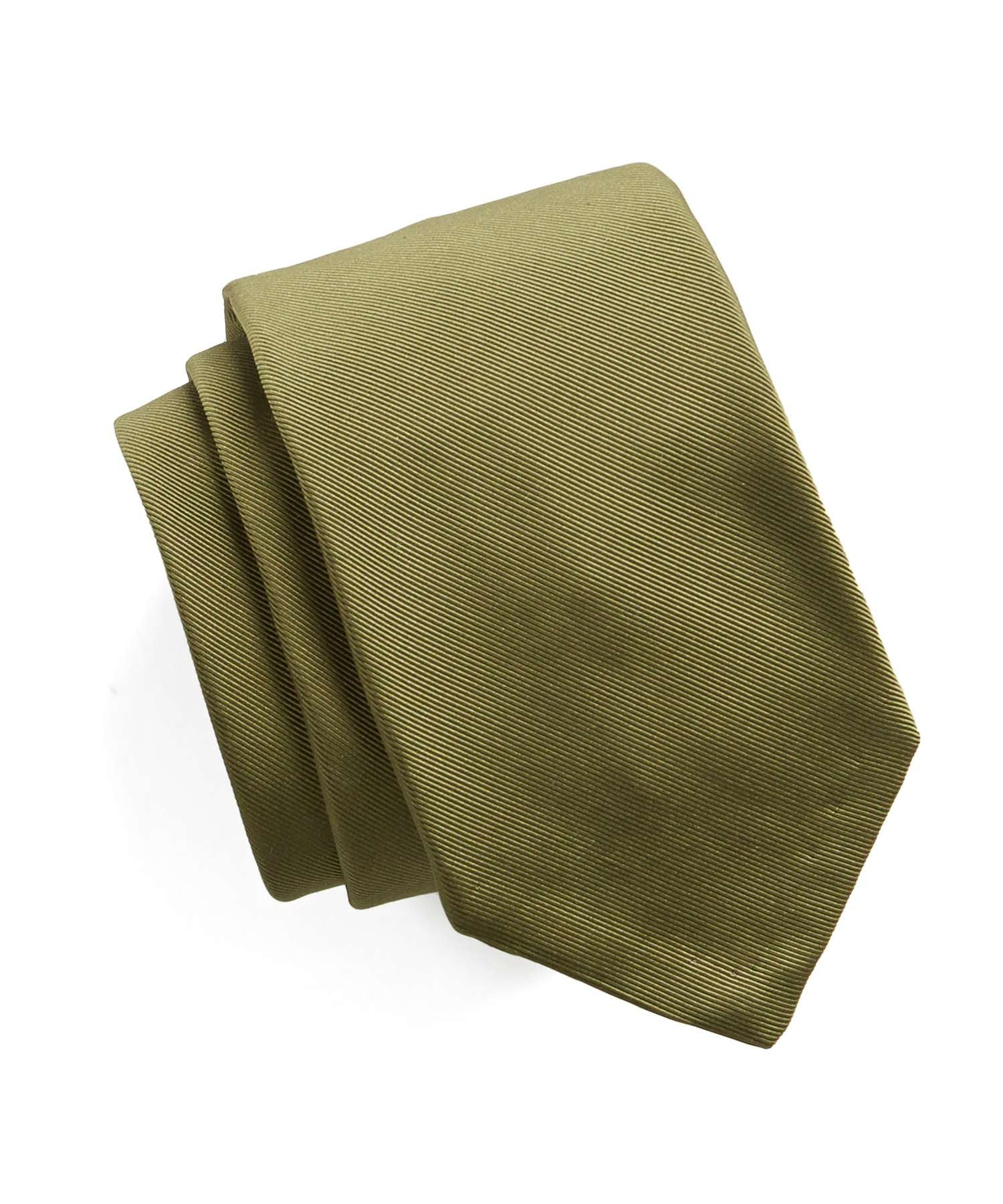 Hand Finished Solid Silk Tie in Olive