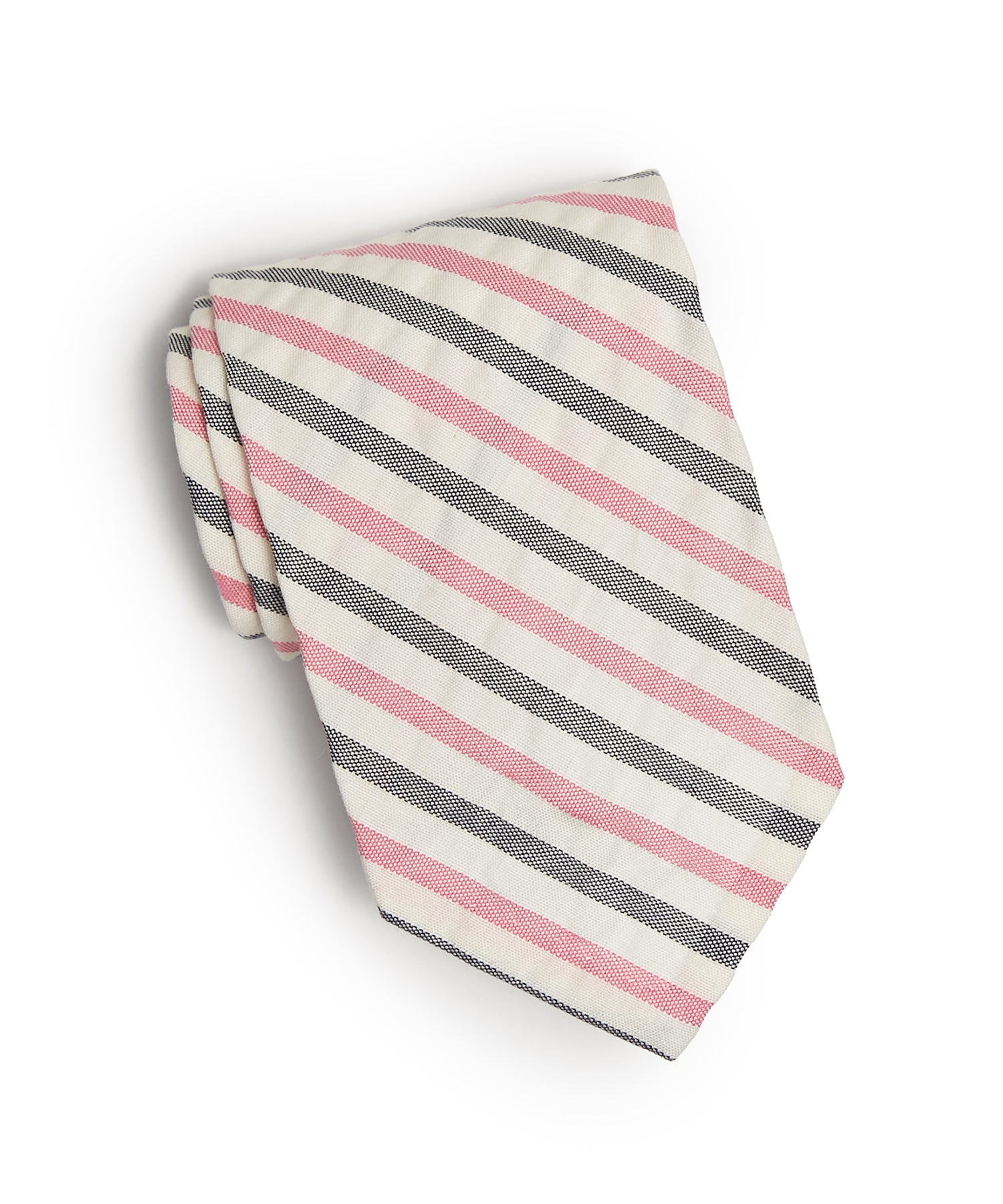 Cotton Double Stripe Seersucker Stripe Tie