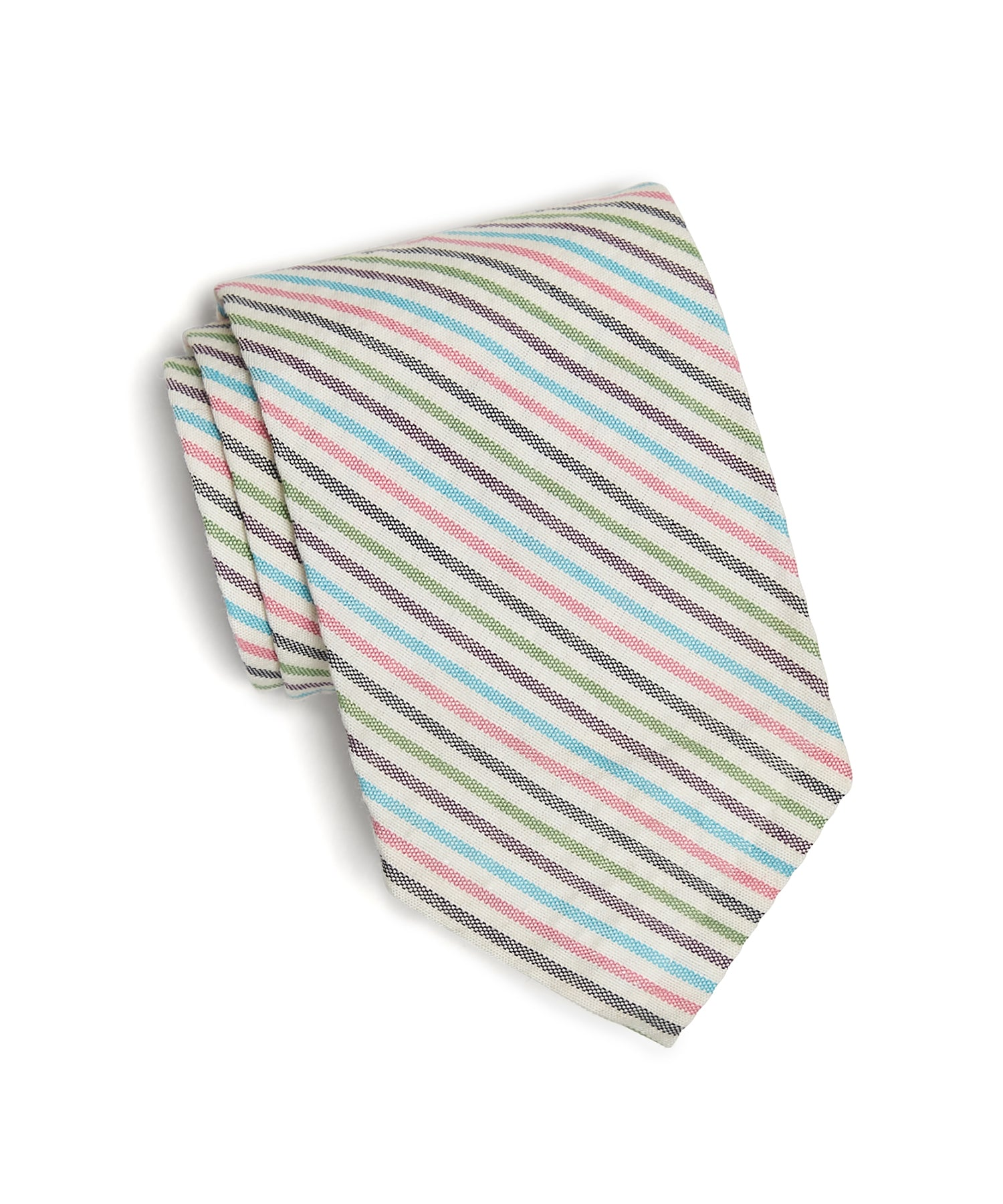 Cotton Multi Stripe Seersucker Tie