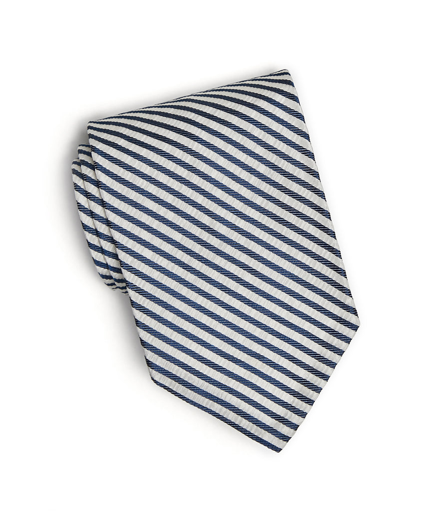 Blue Silk Seersucker Tie