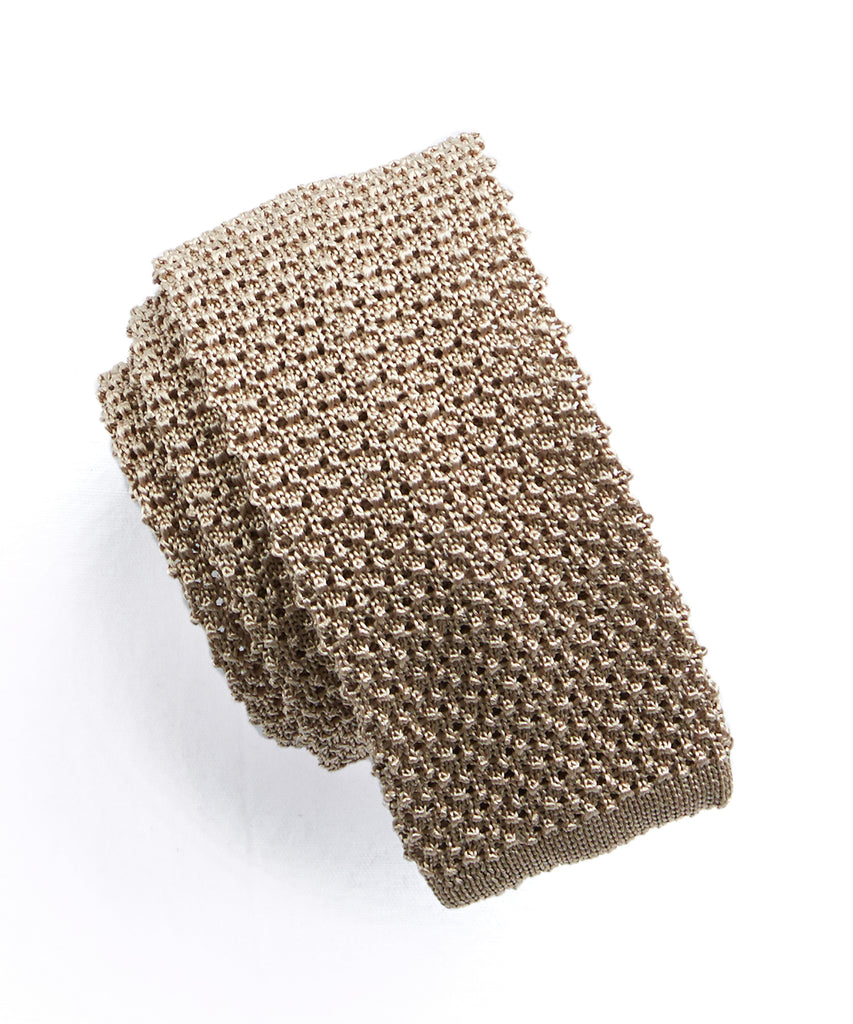 Classic Silk Knit Tie in Khaki