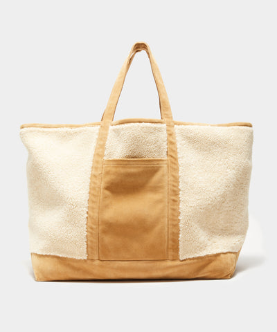 Italian Shearling Tote in Light Sand