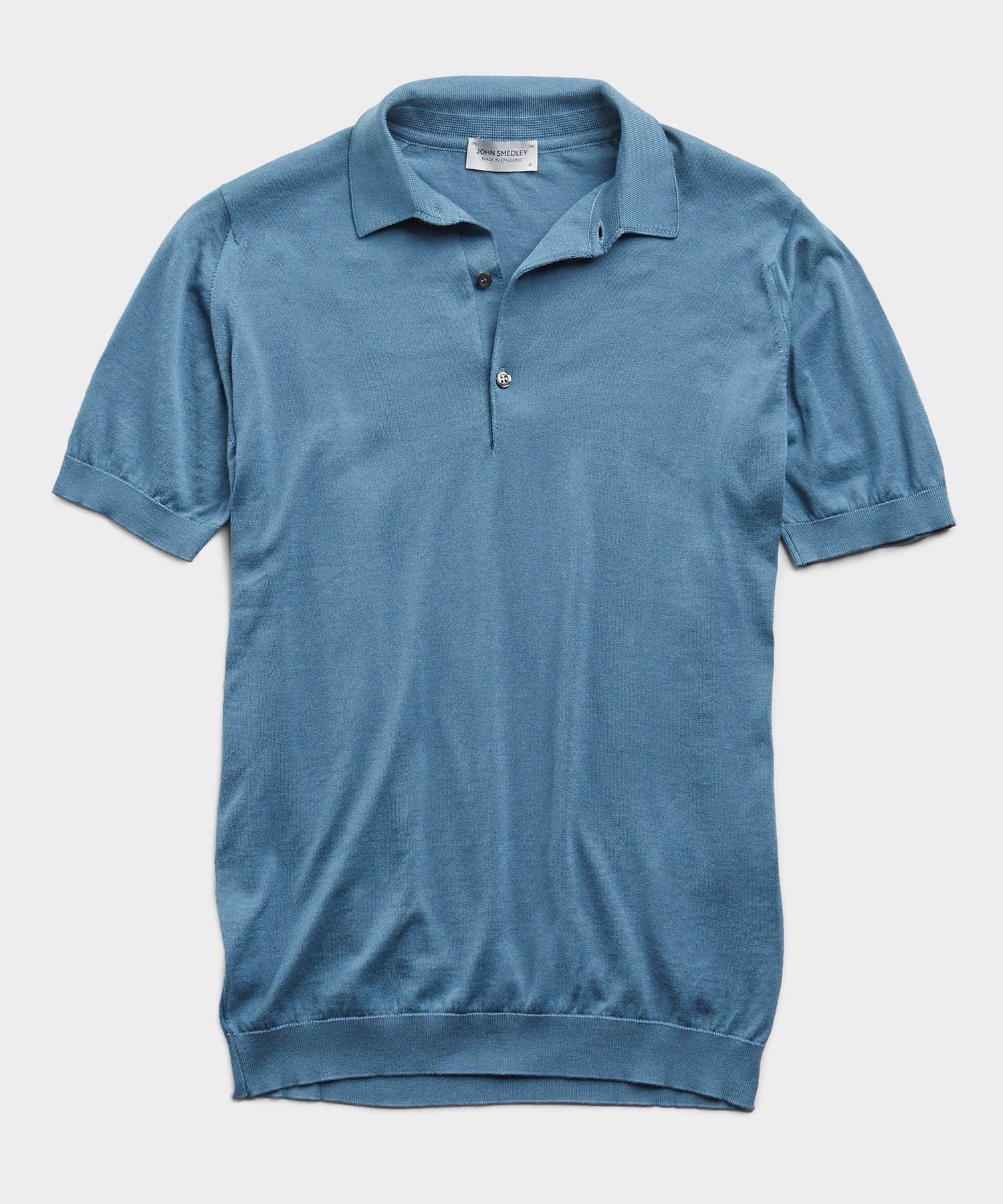John Smedley Adrian Sea Island Cotton Polo in Blue Wash