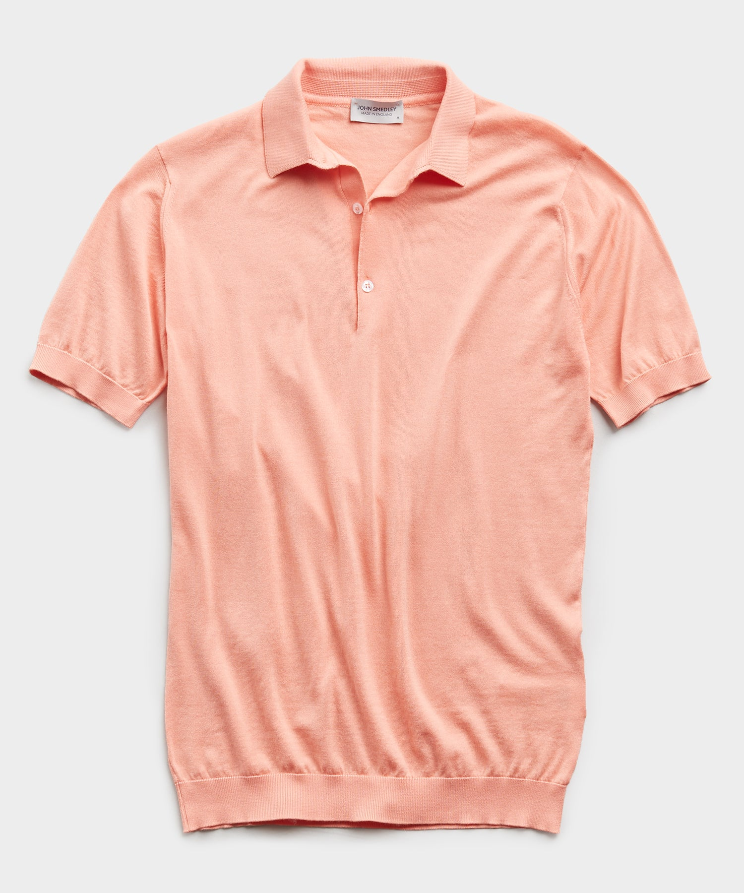 John Smedley Adrian Sea Island Cotton Polo in Canteloupe