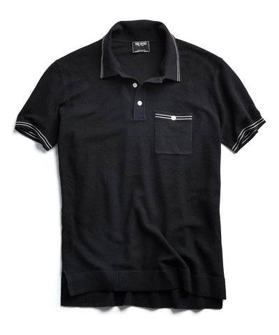 Tipped Cotton Silk Micro Mesh Tipped Polo in Black