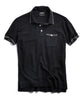 Tipped Cotton Silk Micro Mesh Tipped Polo in Black Alternate Image