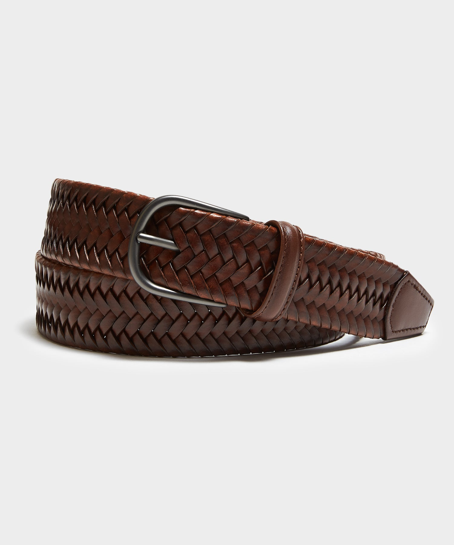 Anderson's Braided Leather Stretch Belt in Dark Brown