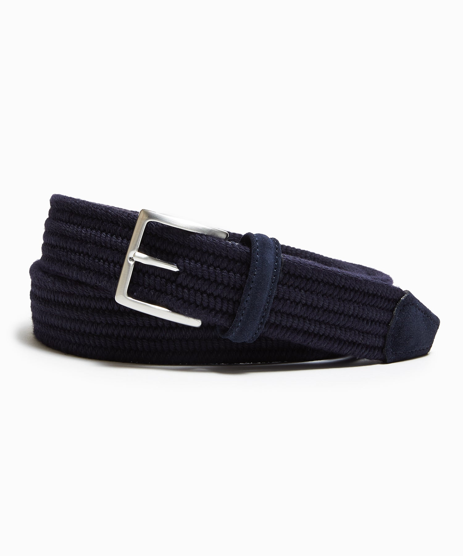 Anderson's Cashmere Stretch Woven Belt in Navy