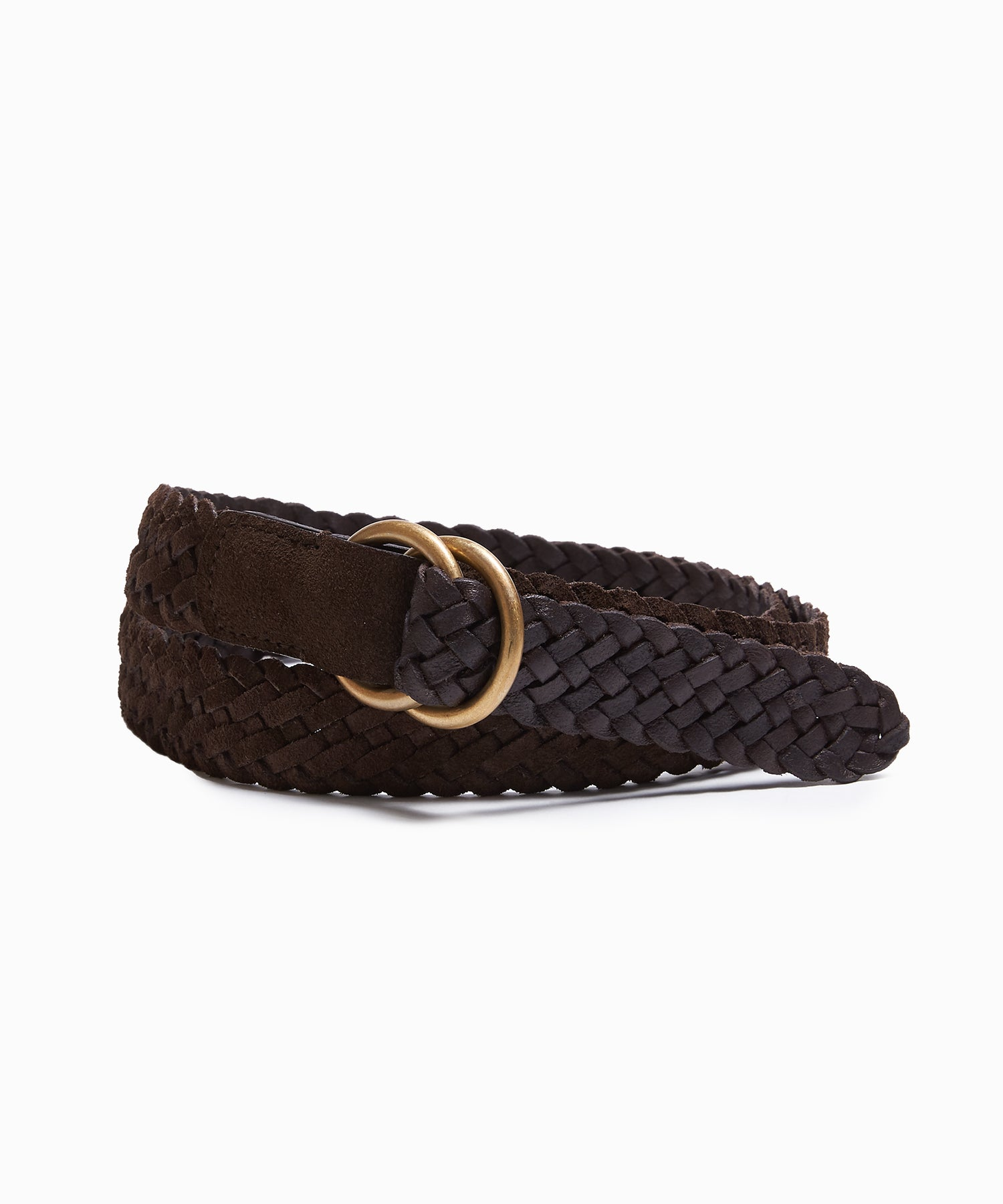 Anderson's Suede Braided D-Ring Belt in Dark Brown