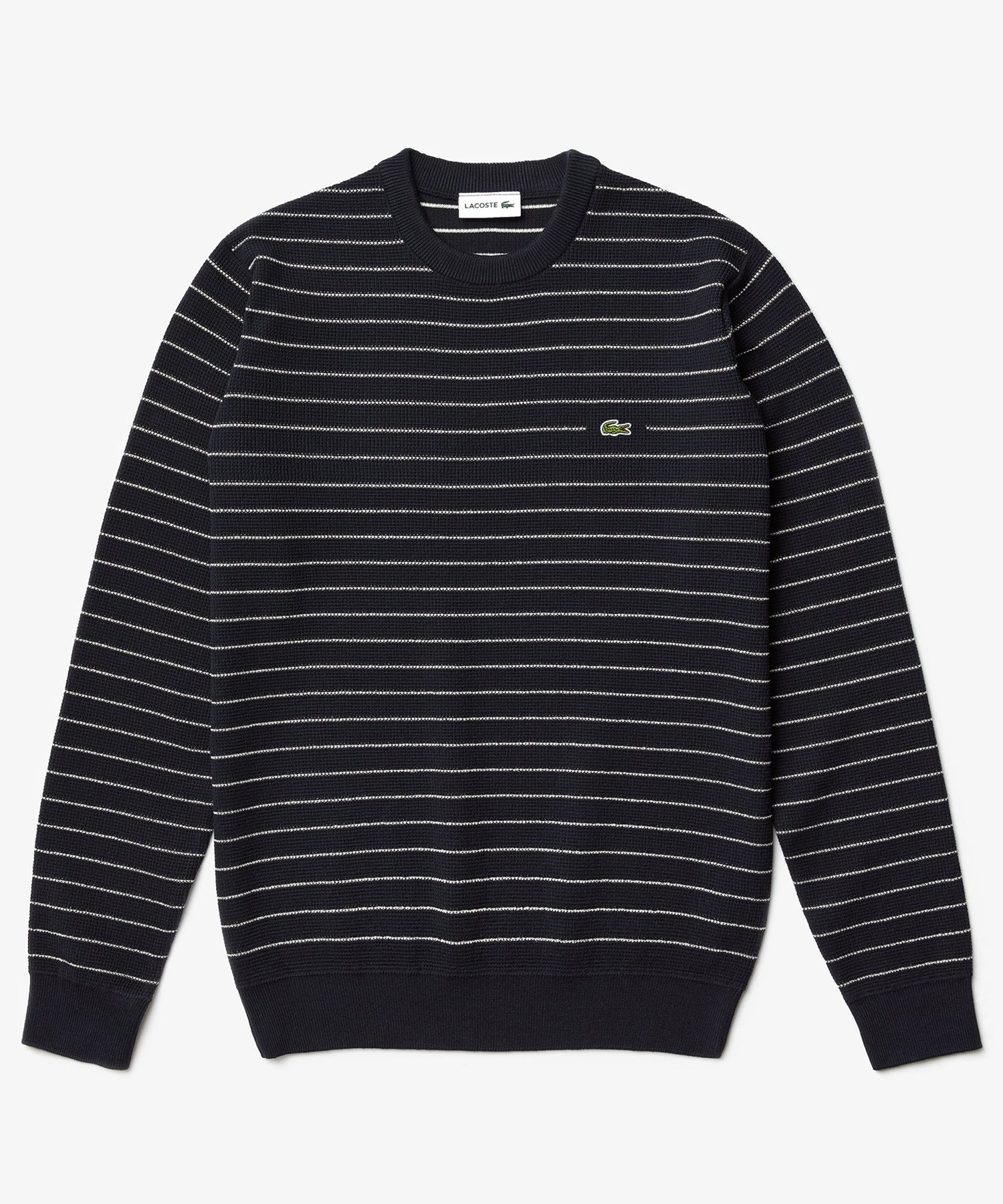 Lacoste Long Sleeve Striped Waffle Crew Sweater in Navy