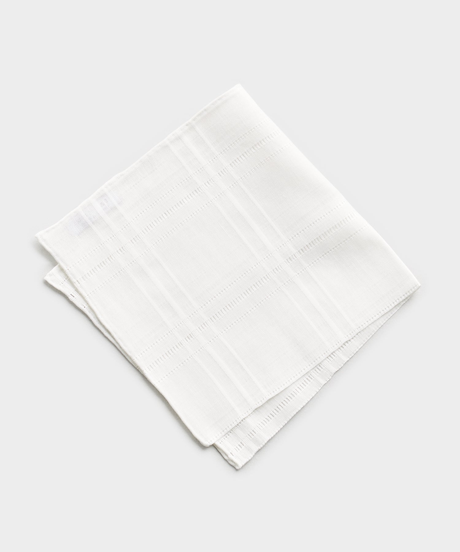 Mungai Mixed Linen Cotton Pocket Square in White