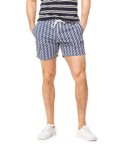 Hartford Geometric Tile Print Swim Trunk