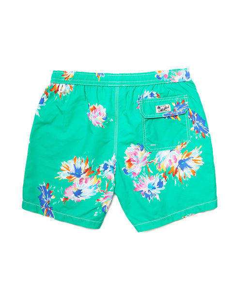 Hartford Watercolor Flower Swim Trunks in Green