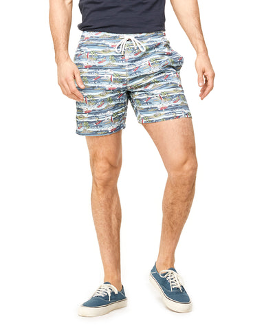 Hartford Hartford Hawaiian Surf Print Swim Trunk