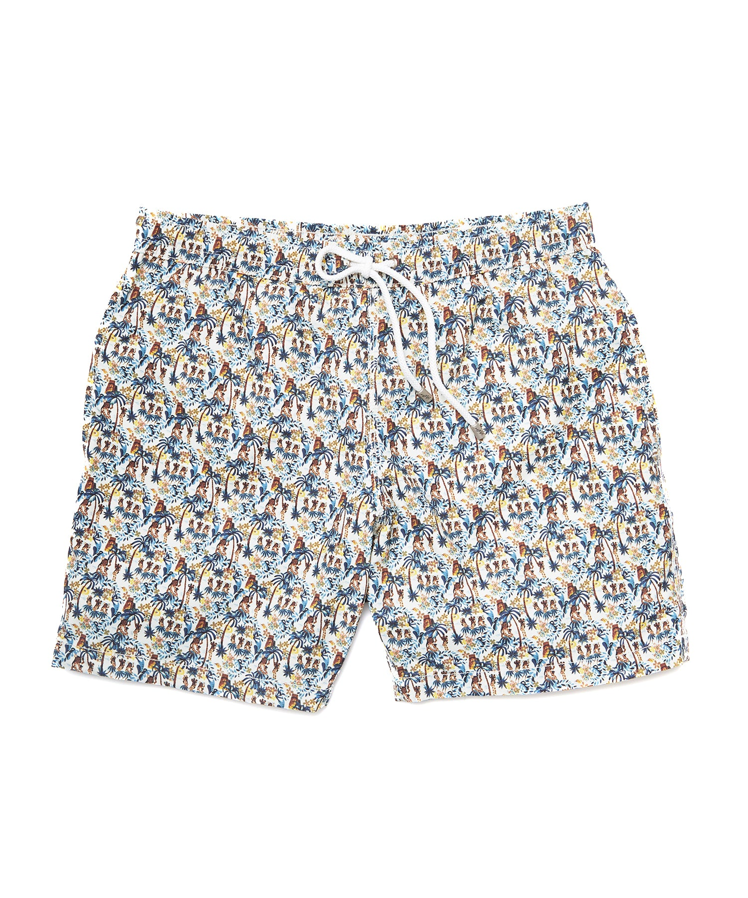 Hartford Hawaiian Tiki Print Swim Trunk