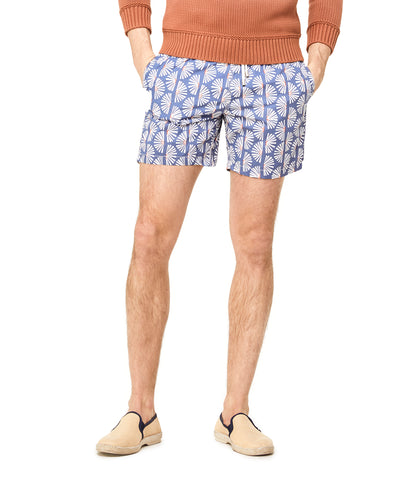 Hartford White Fans on Navy Swim Trunks
