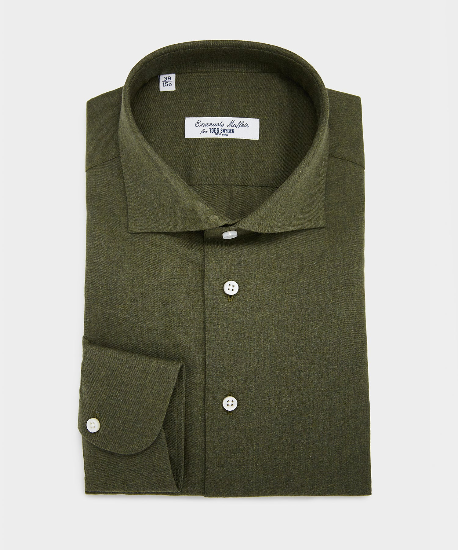 Emanuele Maffeis + Todd Snyder Solid Cotton Shirt In Olive