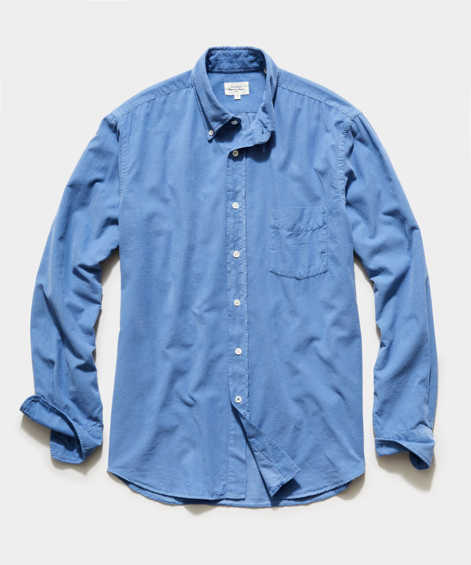 Hartford Garment Dyed Corduroy Shirt in Blue