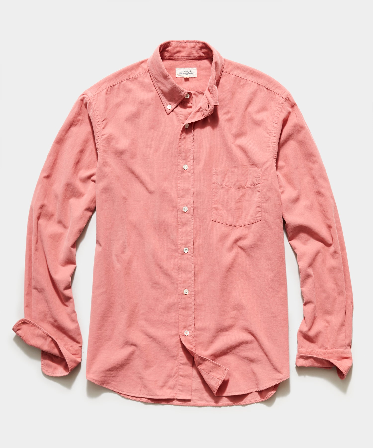 Hartford Garment Dyed Corduroy Shirt in Pink