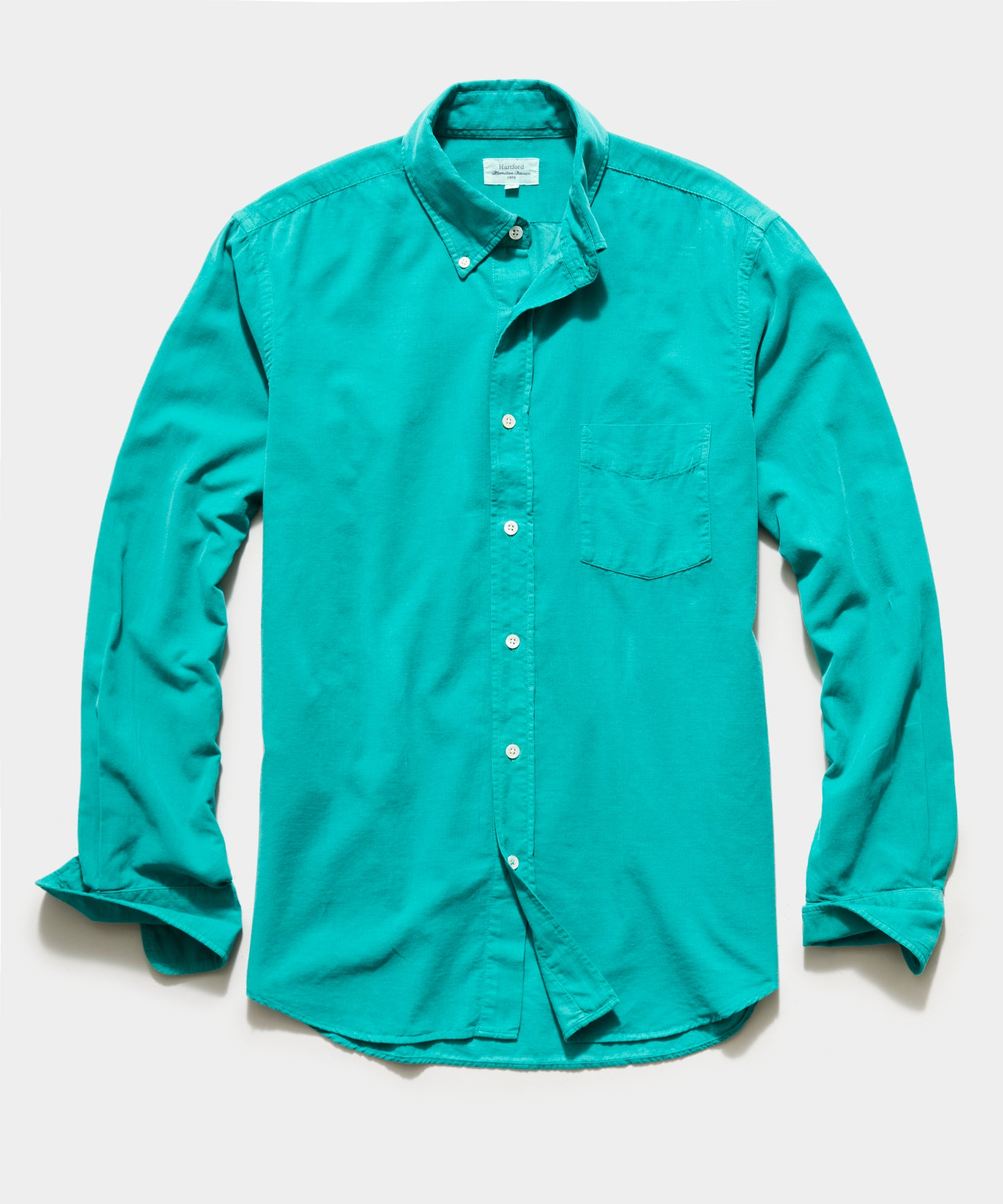 Hartford Garment Dyed Corduroy Shirt in Mint