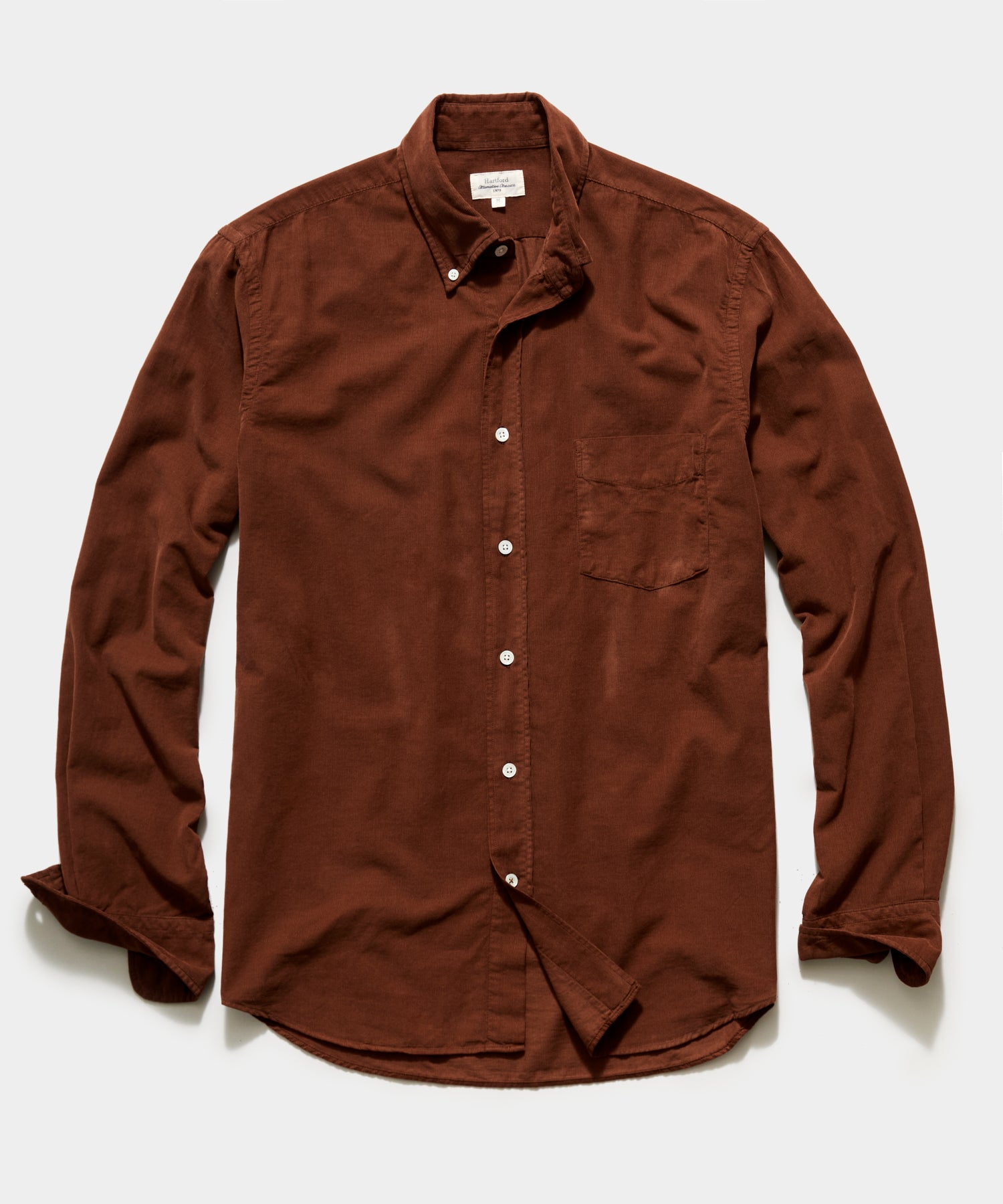 Hartford Garment Dyed Corduroy Shirt in Brown