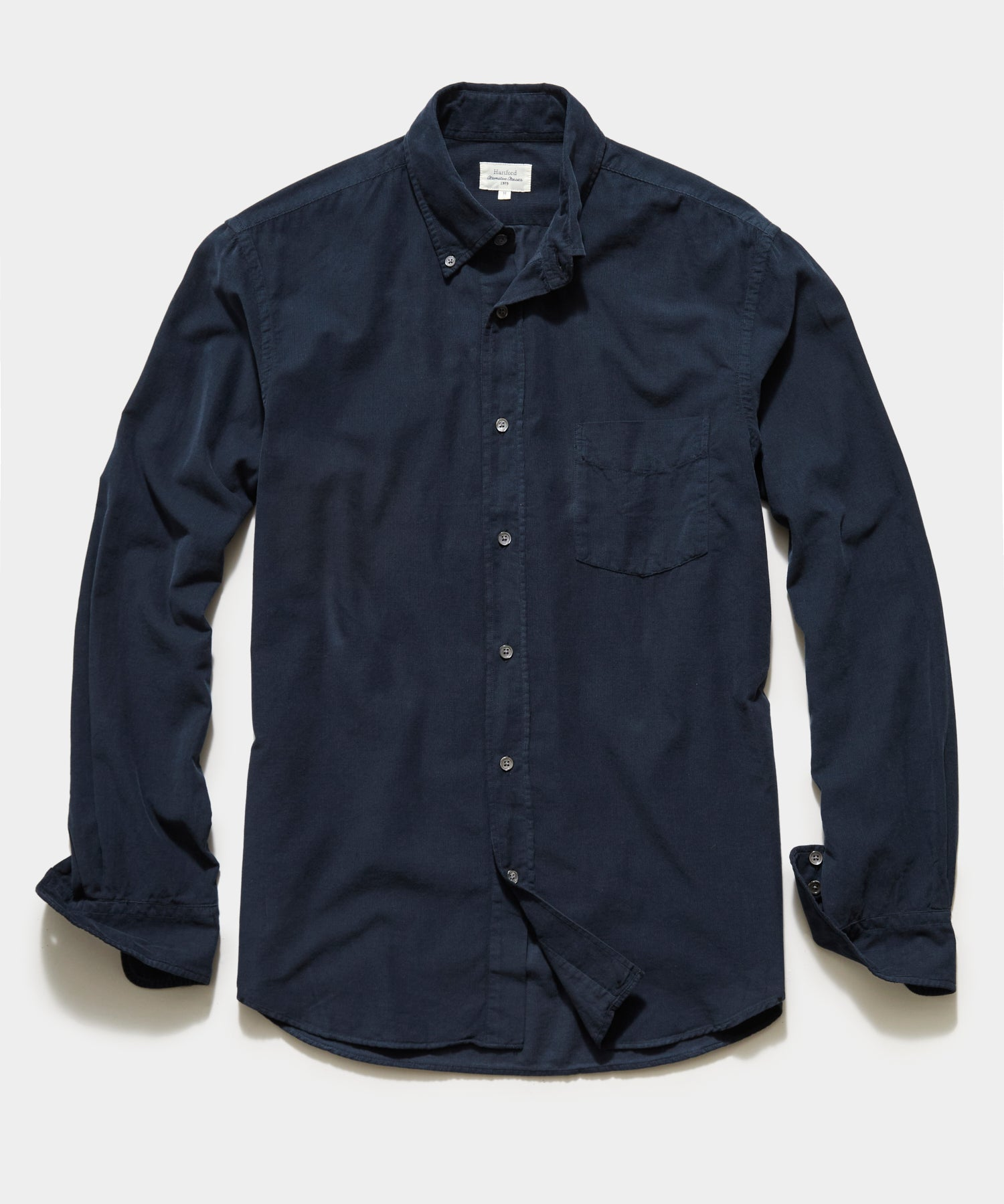 Hartford Garment Dyed Corduroy Shirt in Coal