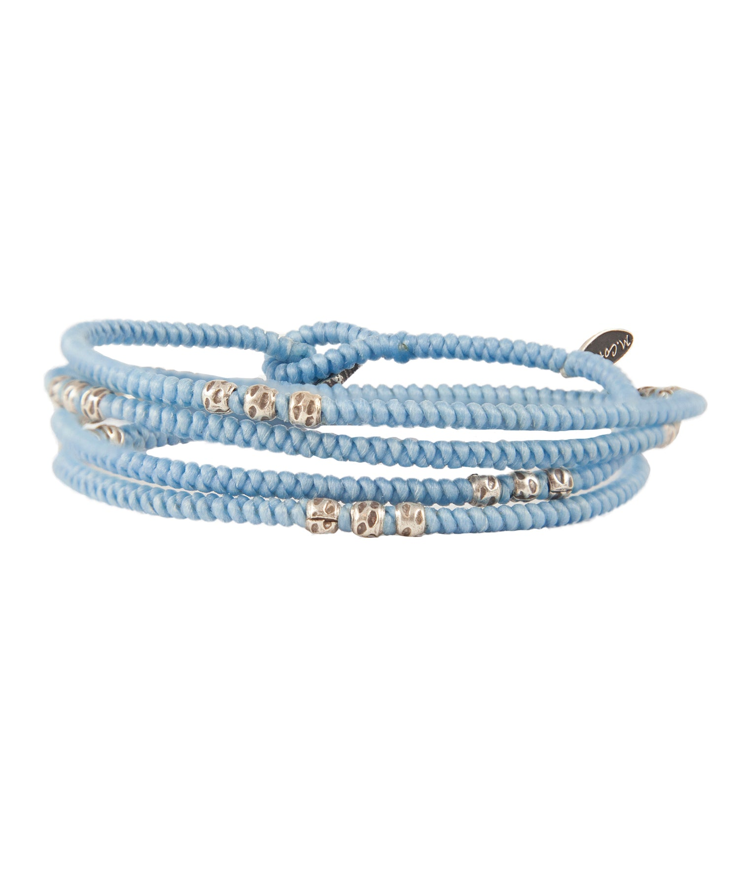M. Cohen 4-Layer Knotted Wrap Silver Brad Brace in Light Blue