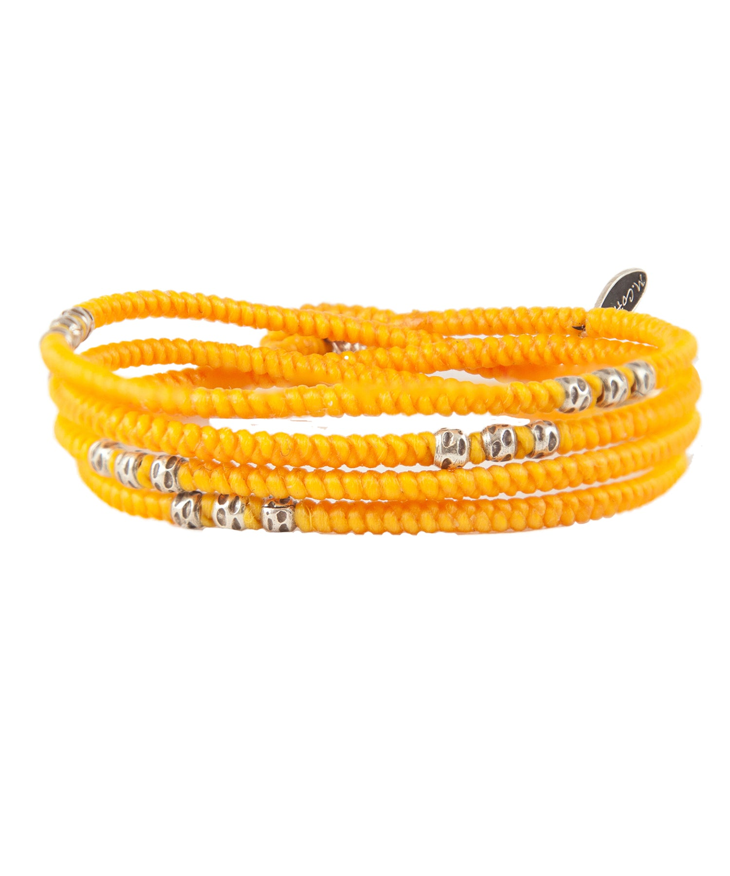 M. Cohen 4-Layer Knotted Wrap Silver Bead Brace in Yellow
