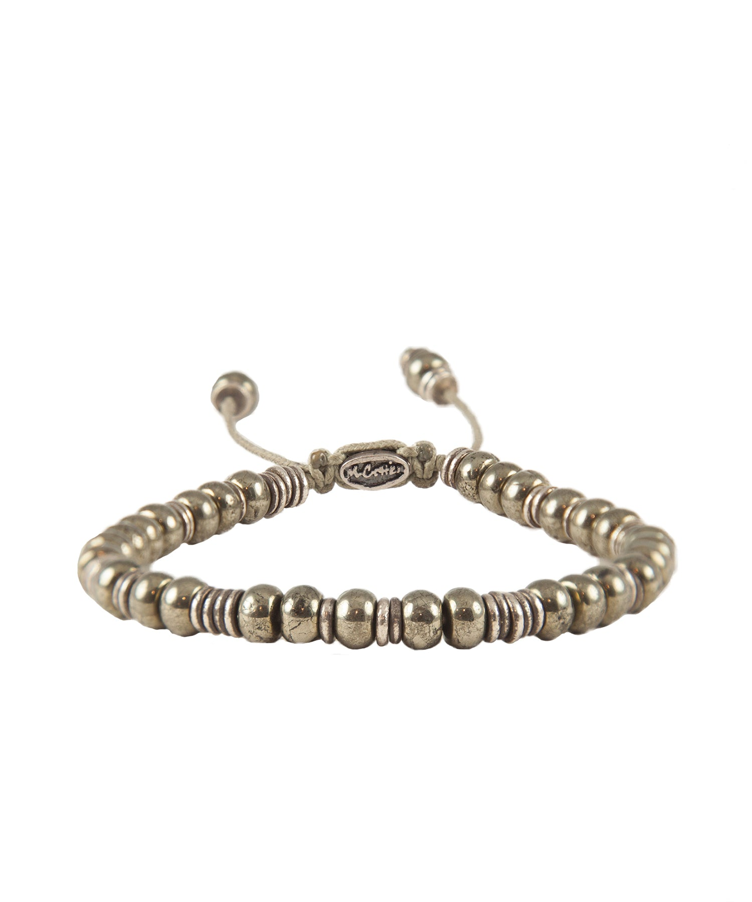 M. Cohen Templar Sterling Disc And Pyrite Stacked Bracelet