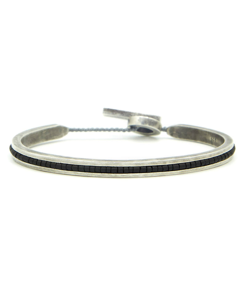 M. Cohen Square Bangle Cuff With Black Beads