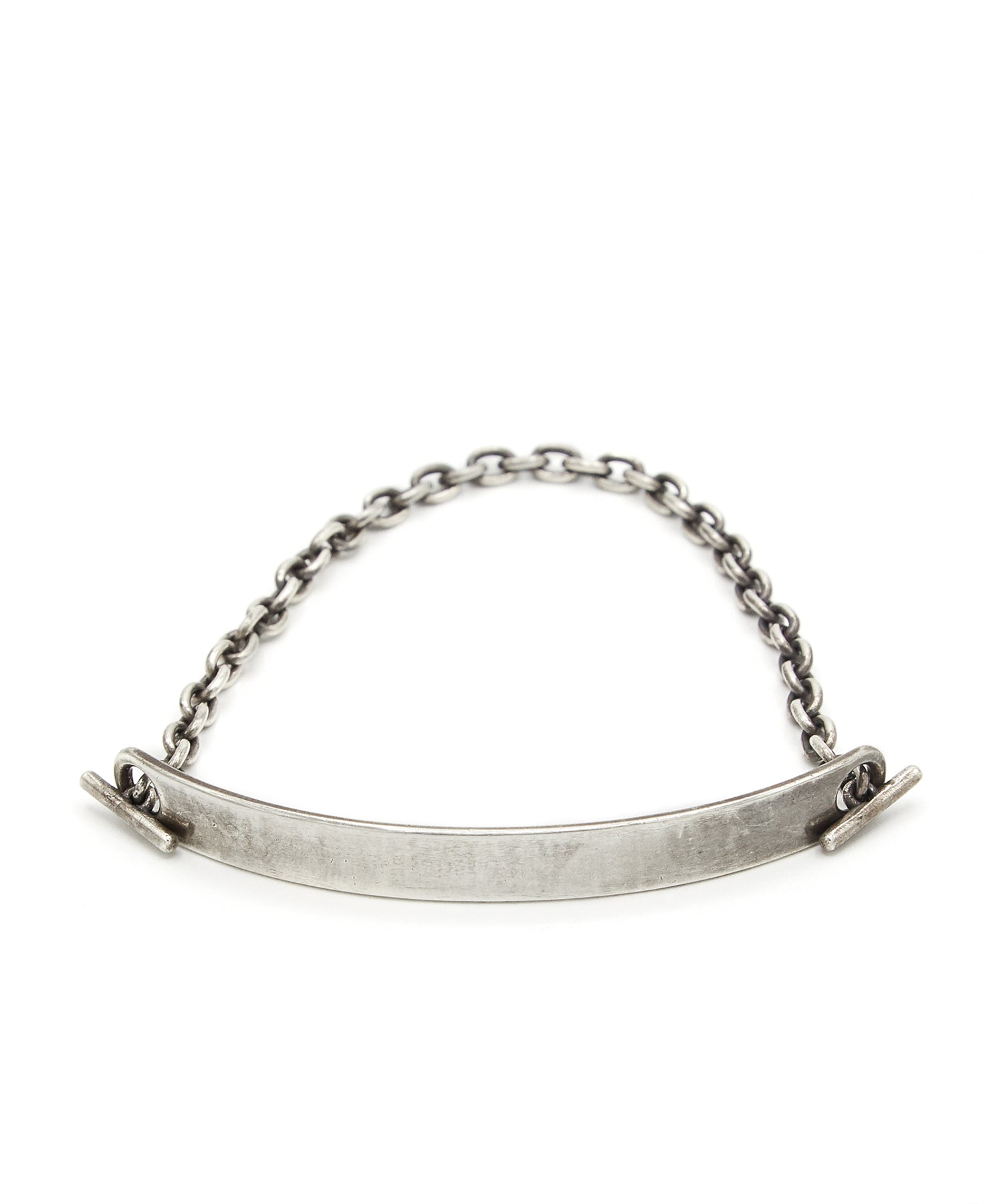 M. Cohen 7mm Silver Fine Scale Top Id Bar Bracelet