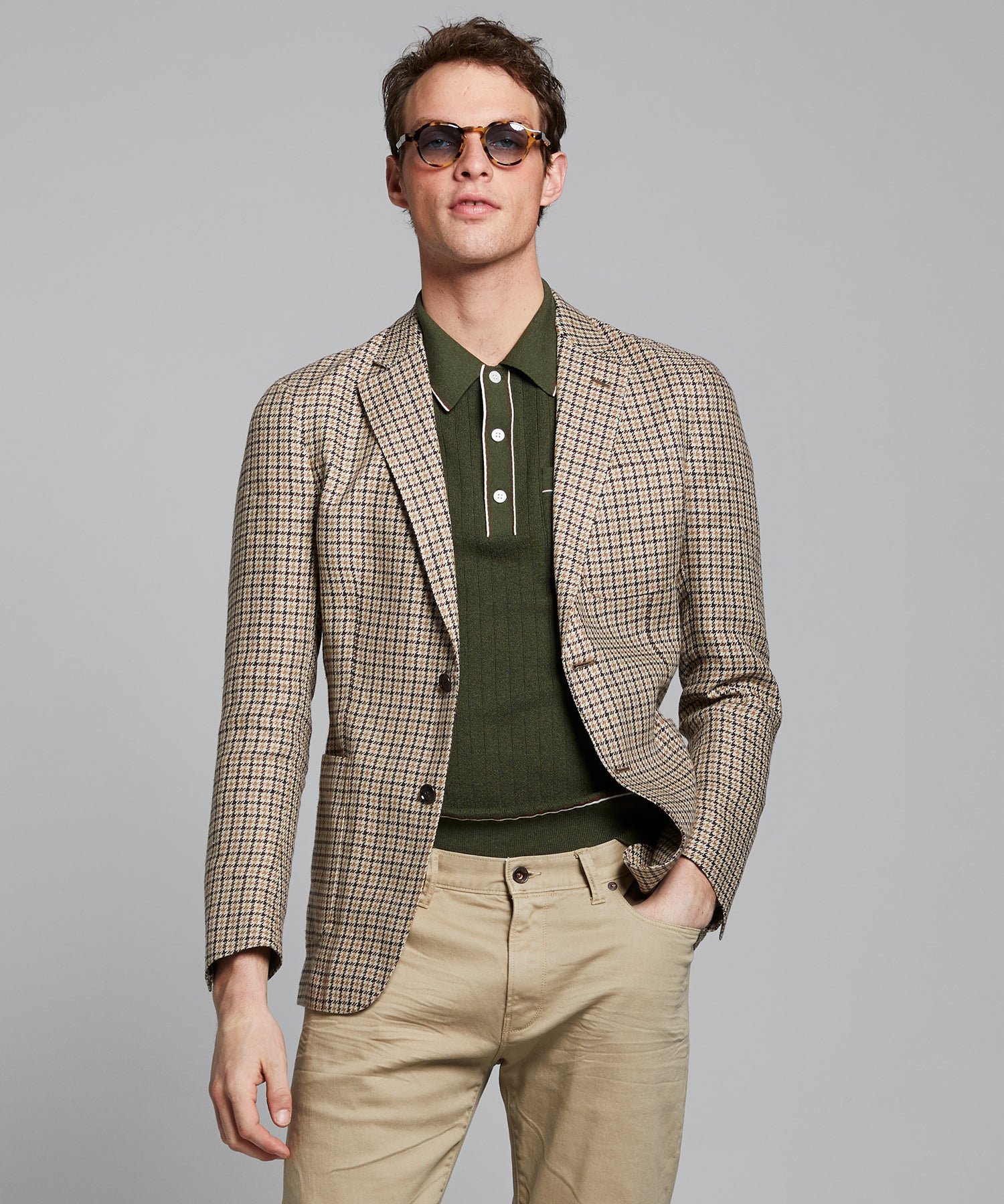 Italian Linen Sportcoat in Prep Brown Houndstooth