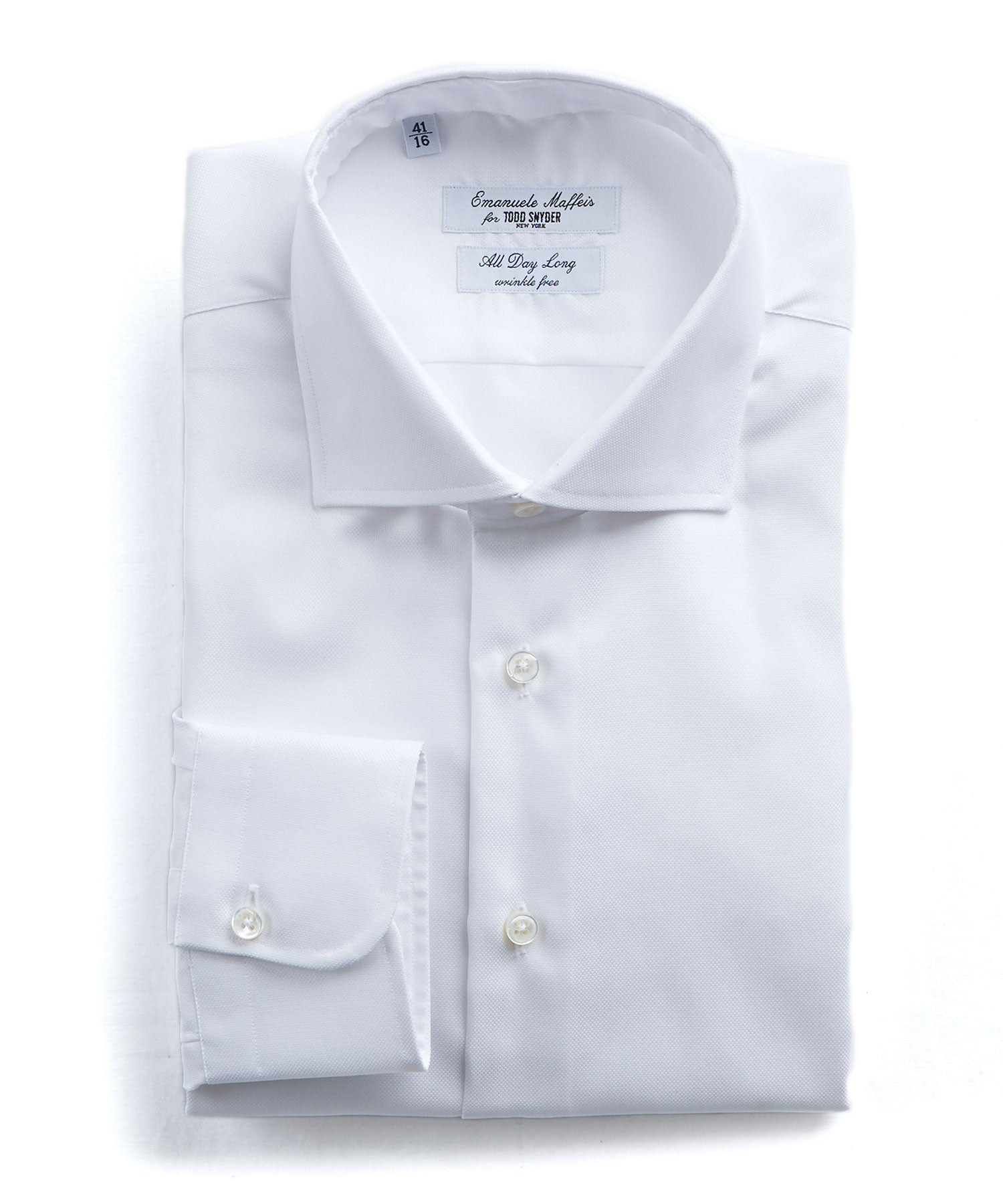 Emanuele Maffeis + Todd Snyder White Wrinkle Free Dress Shirt