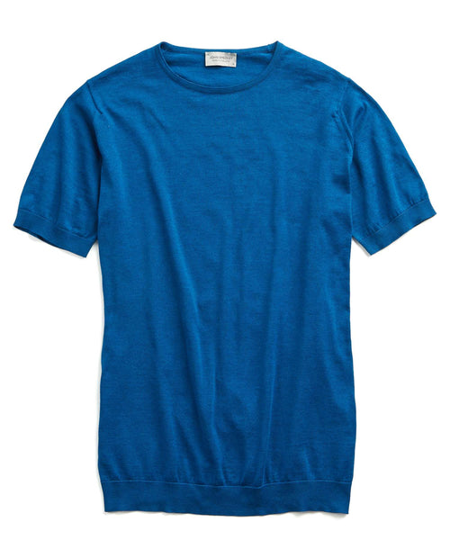 John Smedley Belden Sea Island Cotton T-Shirt in Blue