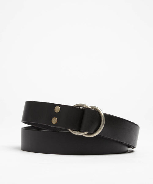 Double Ring Leather Belt in Black