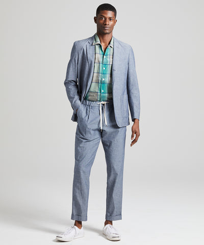 Chambray Traveler Suit Jacket in Indigo