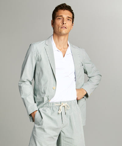 Seersucker Traveler Suit Jacket in Green