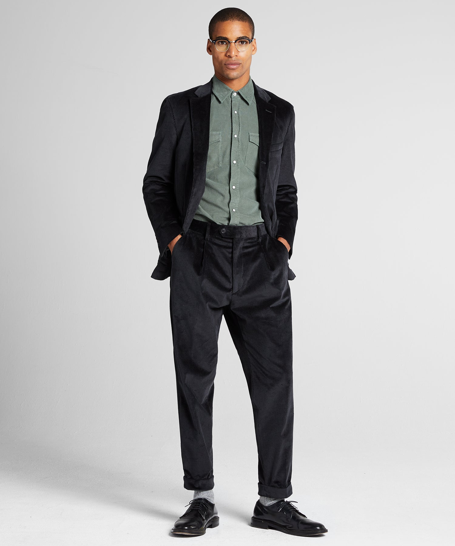Corduroy Madison Traveler Suit in Charcoal