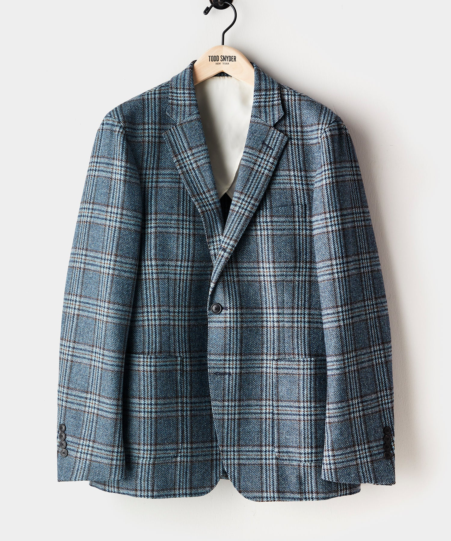 Unstructured Plaid Sport Coat in Blue