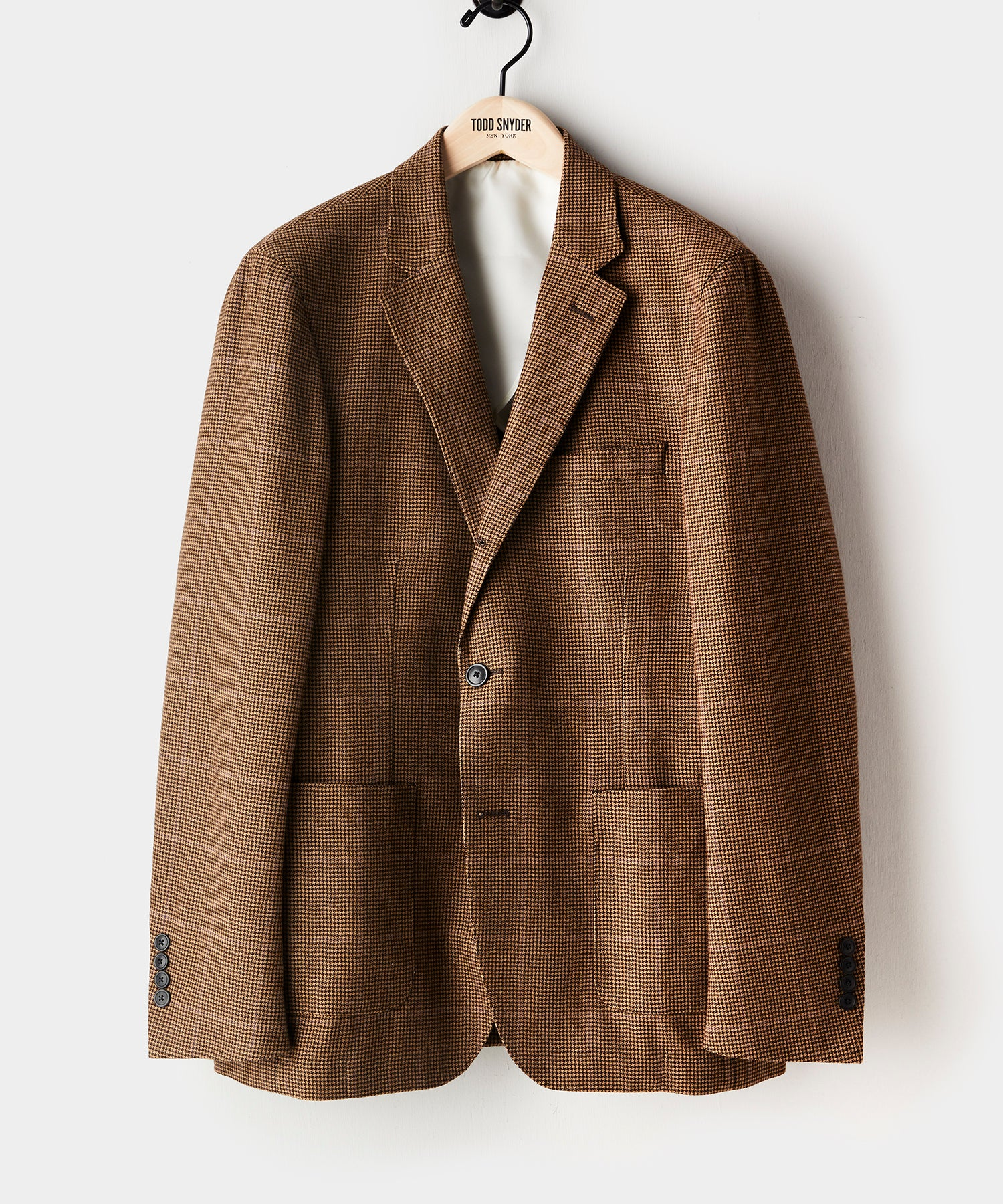 Wool Madison Suit Jacket in Brown Houndstooth