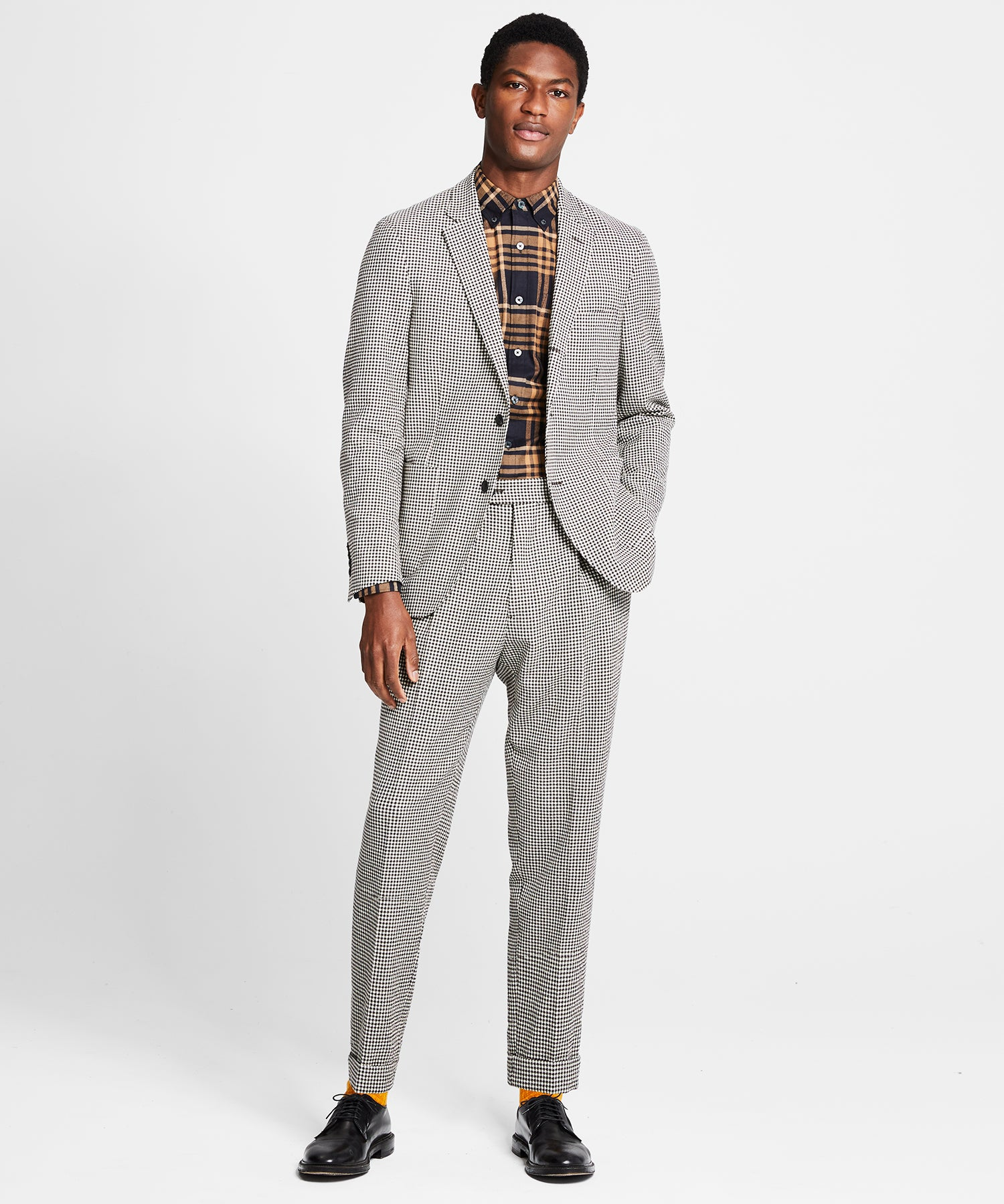 Washed Wool Cotton Check Madison Traveler Suit in Ivory