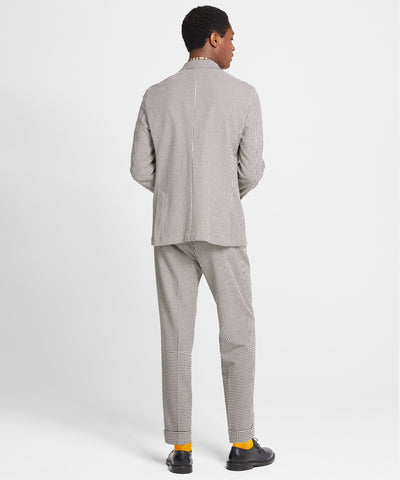 Washed Wool Cotton Check Madison Suit Jacket in Ivory