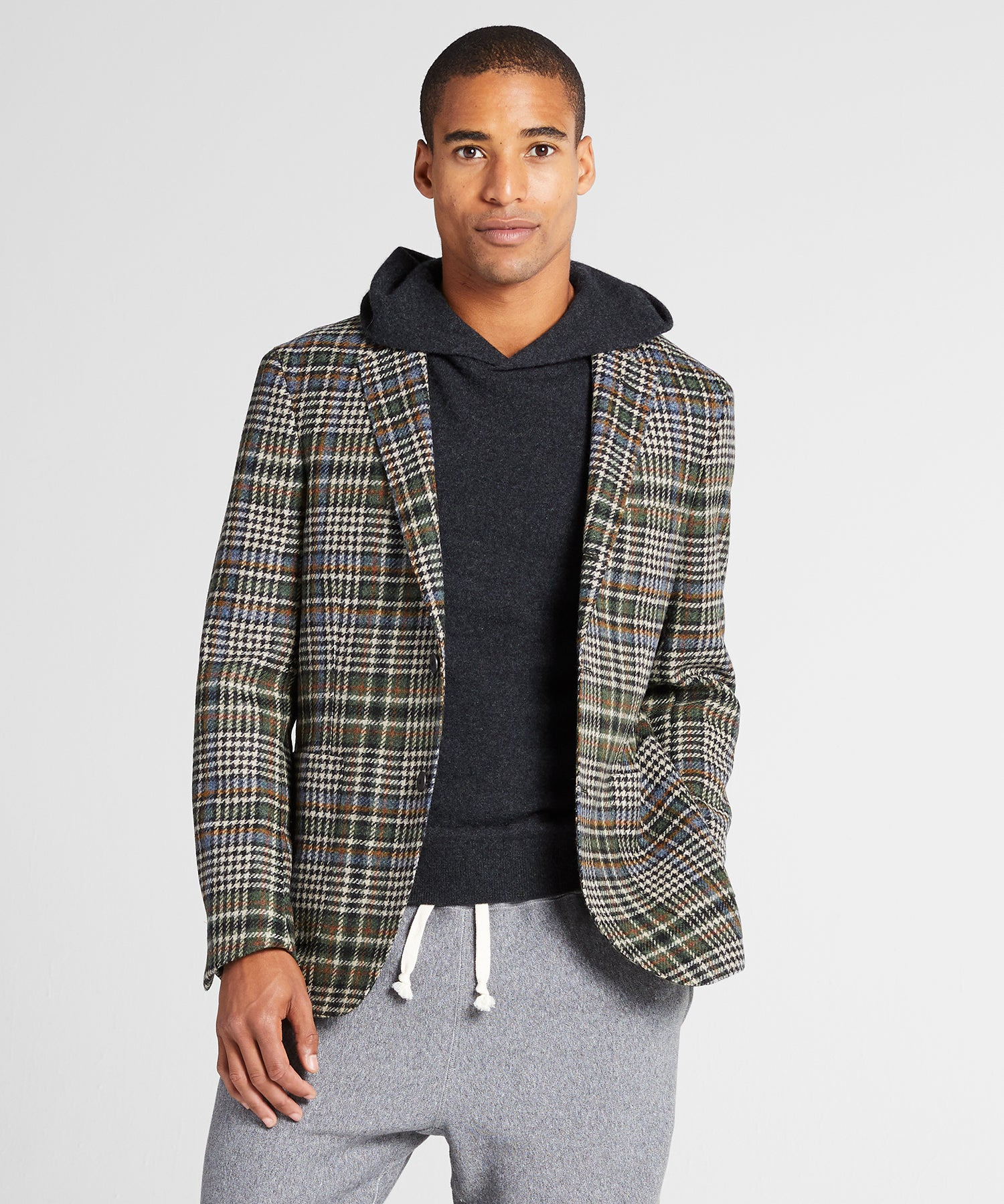 Unconstructed Plaid Sportcoat in Olive