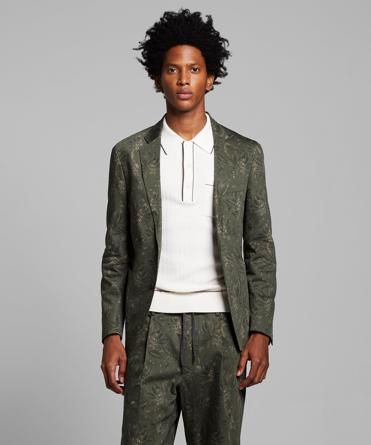 Italian Floral Traveler Suit Jacket in Olive