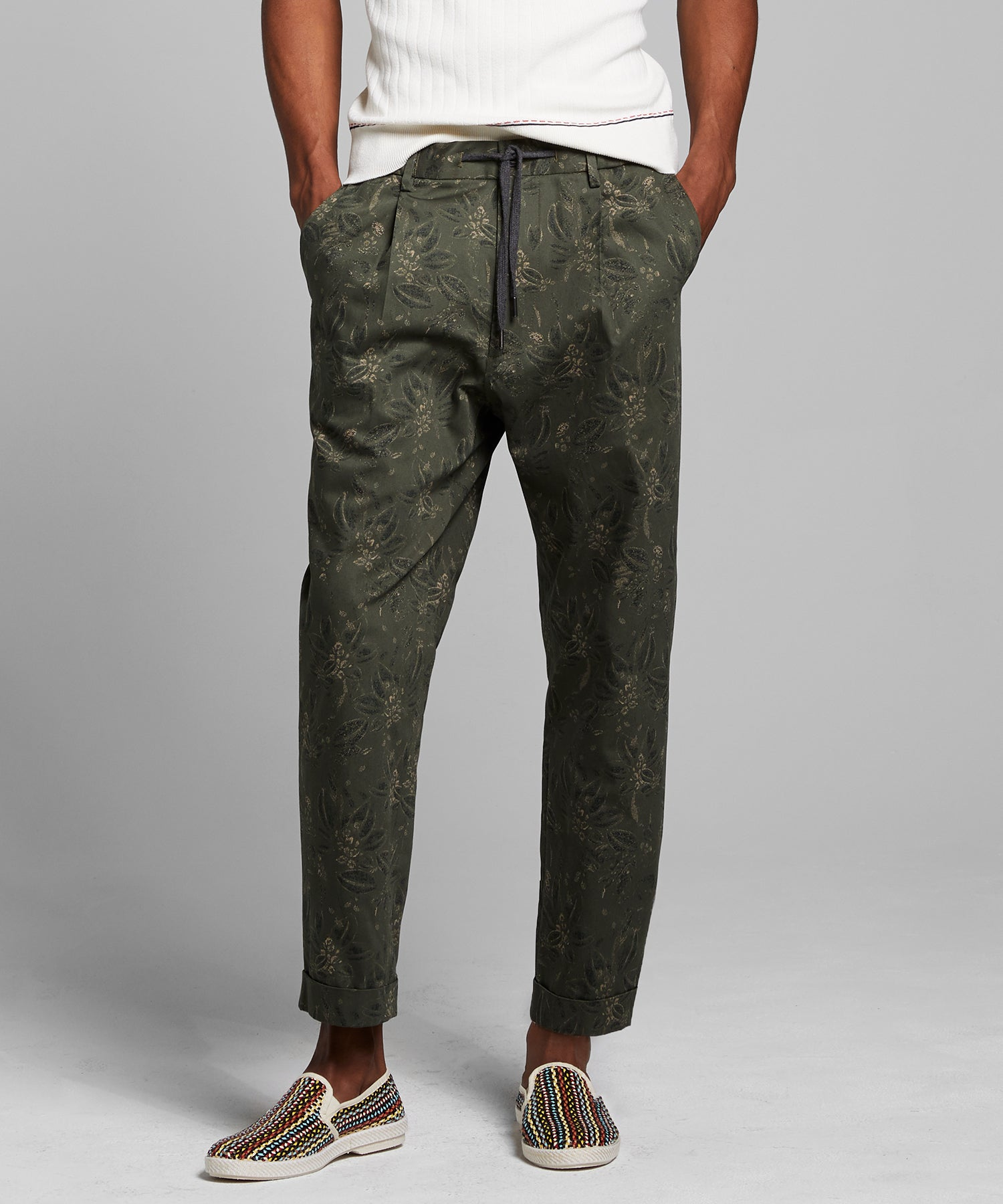 Italian Floral Traveler Dress Pant in Olive