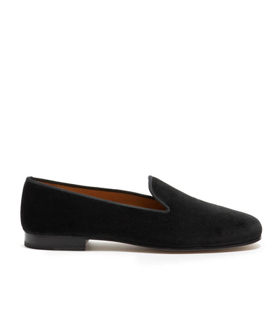 Stubbs & Wootton + Todd Snyder Black Velvet Slippers